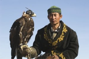 Kazakh eagle hunter in the Altai