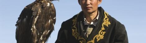 Kazakh eagle hunter in the Altai