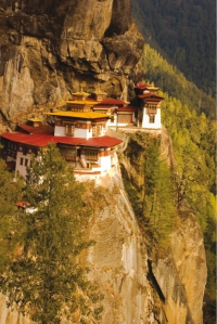 Taktsang Monastery in Bhutan, built on the side of a mountain