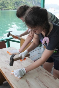 Students on a Service Learning trip in Halong Bay, Vietnam