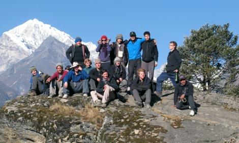 student treks in nepal