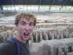 Vlogger William Shears at the Terracotta Army