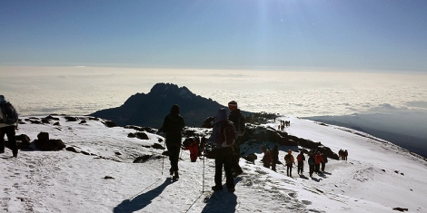 Students making a push to the summit of Mt Kilmanjaro