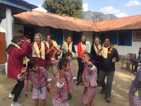 School Leavers Having Fun with the Nepali Locals