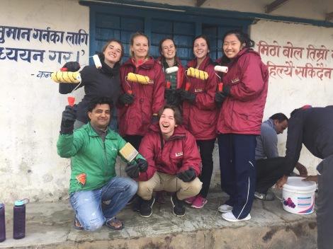 School Leavers Repairing School in Nepal
